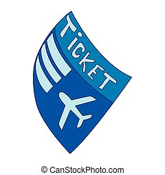 Blue plane ticket icon, cartoon style