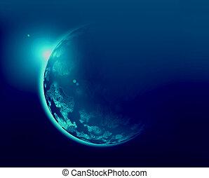 Blue planet 3d illustration in universe concept