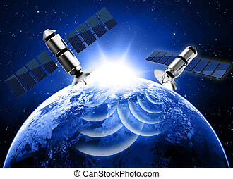 blue planet earth and satellite in space