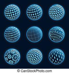 Blue planet icons set. Vector illustration.
