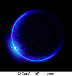 Blue planet - One blue planet in deep space. Black space. ...