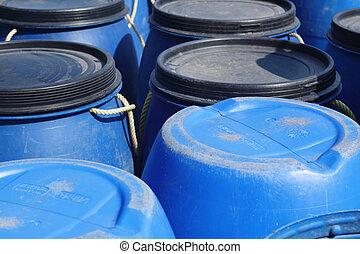 Blue plastic 200 litre barrel