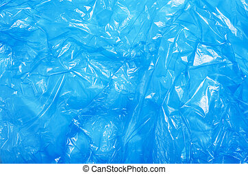 Blue Plastic Bag, Crumpled Cellophane Texture Background
