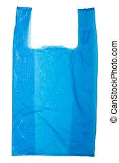 Plastic bag - Blue Plastic bag isolated on white background