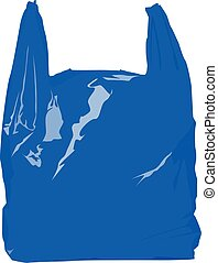 blue plastic bag realistic vector illustration isolated