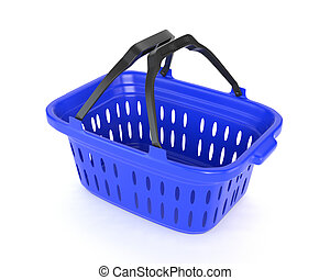 Blue plastic basket isolated on white background. 3d illustration.