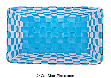 Blue plastic basket isolated on white background
