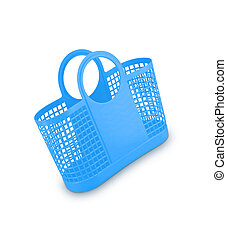 Blue plastic basket on white background