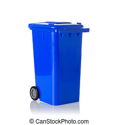 Blue plastic bin isolated on white.