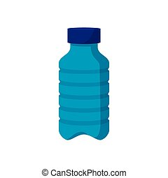 Blue plastic bottle cartoon icon