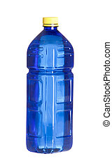 Blue plastic bottle for water isolated on white background Blue