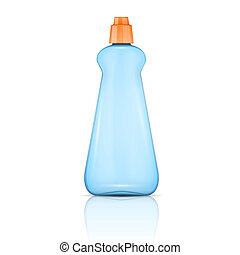 Blue plastic bottle with orange cap. - Blue plastic bottle...