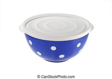Blue plastic bowls isolated on white background