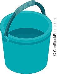 Blue plastic bucket icon, isometric style - Blue plastic...