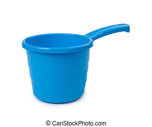 blue plastic bucket isolated on white background