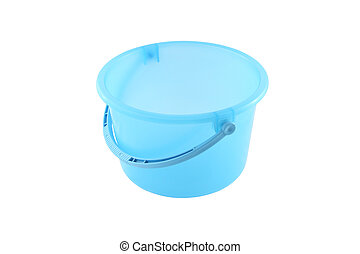 Blue plastic bucket on white background.