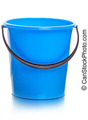 Blue plastic bucket on white
