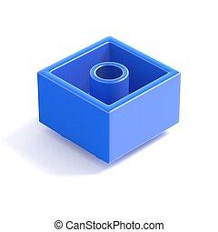 Blue plastic building block, children toy. Bottom view. 3D