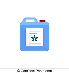 Blue plastic can isolated on white background. Cleaning service logo, laundry detergent and disinfectant products, cleaner for toilet, bath - flat vector illustration