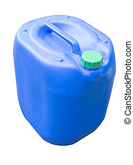 Blue plastic canister - Blue chemical plastic canister with...