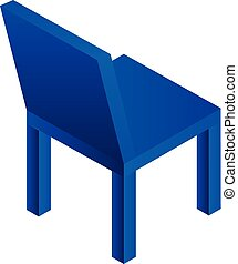 Blue plastic chair icon, isometric style