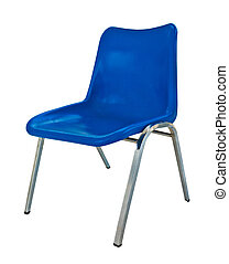 blue plastic chair on white background