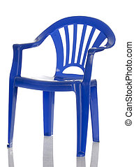 blue plastic child\'s chair with reflection on white background