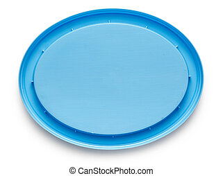 Blue plastic cover on white background