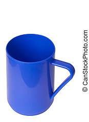 Blue plastic cup on white background
