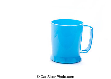 Blue plastic cup on white background with copyspace.
