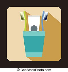 Blue plastic cup with brushes icon, flat style