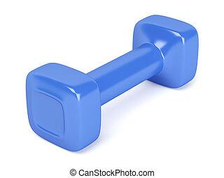 Blue plastic dumbbell