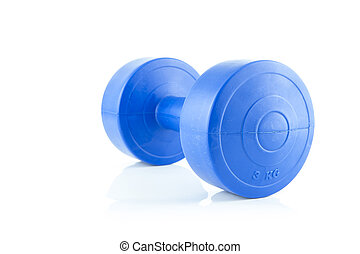 Blue plastic dumbbell on white background