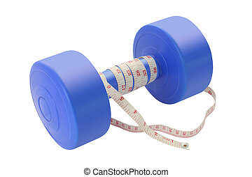 Blue plastic dumbbell with tapeline on white background.