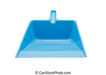 blue plastic dustpan isolated on white background