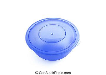 Blue plastic food storage