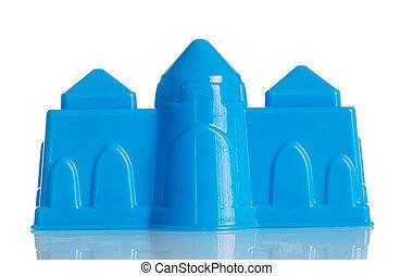 Blue plastic locking for the sandbox isolated on white.