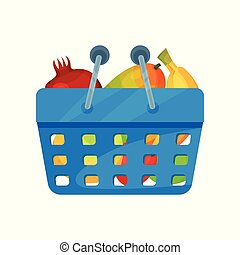 Blue plastic shopping basket full of fresh fruits. Natural and healthy food. Organic products. Flat vector icon