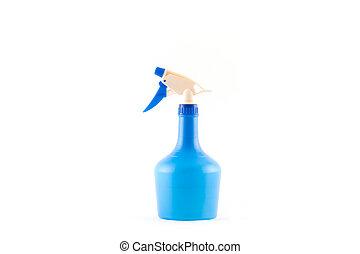 Blue plastic spray bottle isolated on white background.