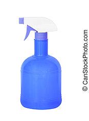 blue plastic spray bottle isolated on white background