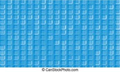 blue plastic square grid & block brick matrix wall.
