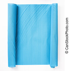 blue plastic tablecloth isolated on white background