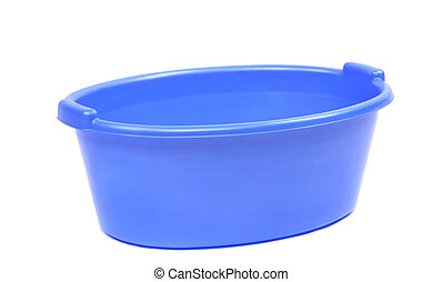 Blue plastic wash basin. Isolated on a white background.