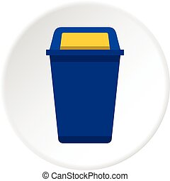 Blue plastic wastebasket icon in flat circle isolated vector illustration for web