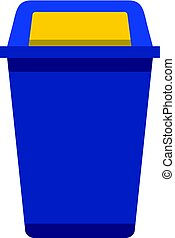 Blue plastic wastebasket icon flat isolated on white background vector illustration