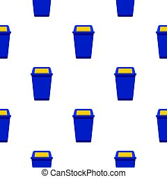 Blue plastic wastebasket pattern seamless background in flat style repeat vector illustration