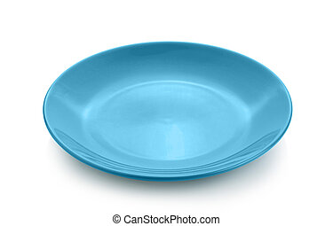 blue plate on white background