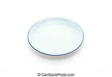 blue plate on white