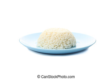 Blue plate with boiled rice isolated on white background