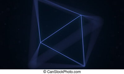 Blue Platonic solid octahedron rotating. Computer graphics...